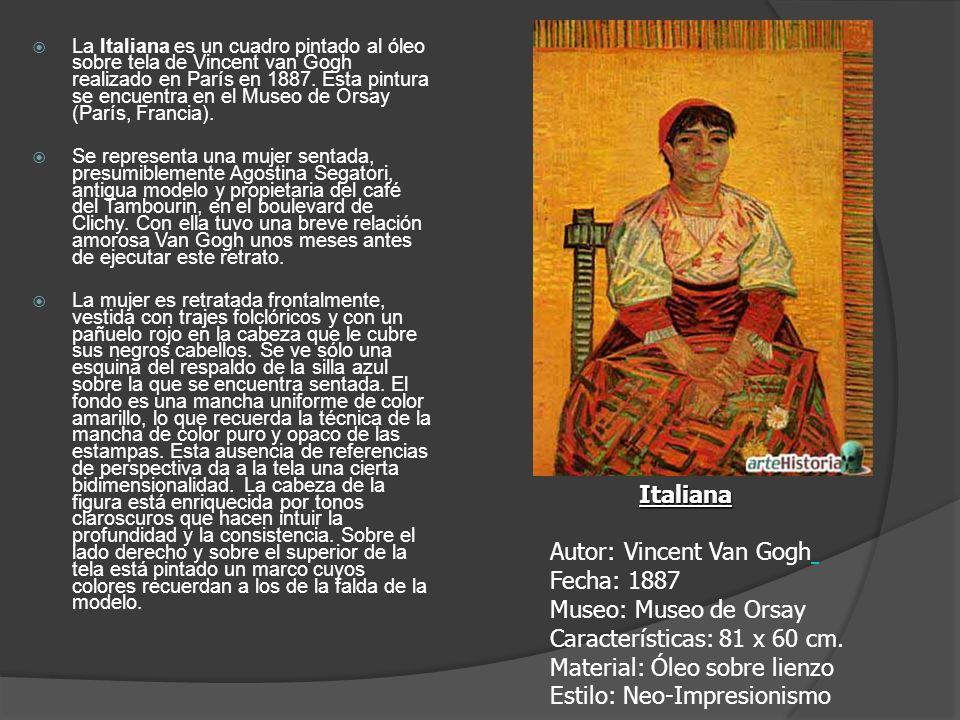 La Italiana es un cuadro pintado al óleo sobre tela de Vincent van Gogh realizado en París en 1887. Esta pintura se encuentra en el Museo de Orsay (París, Francia).