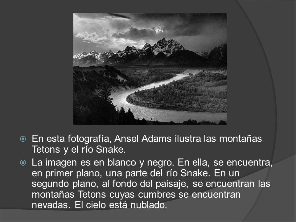 En esta fotografía, Ansel Adams ilustra las montañas Tetons y el río Snake.