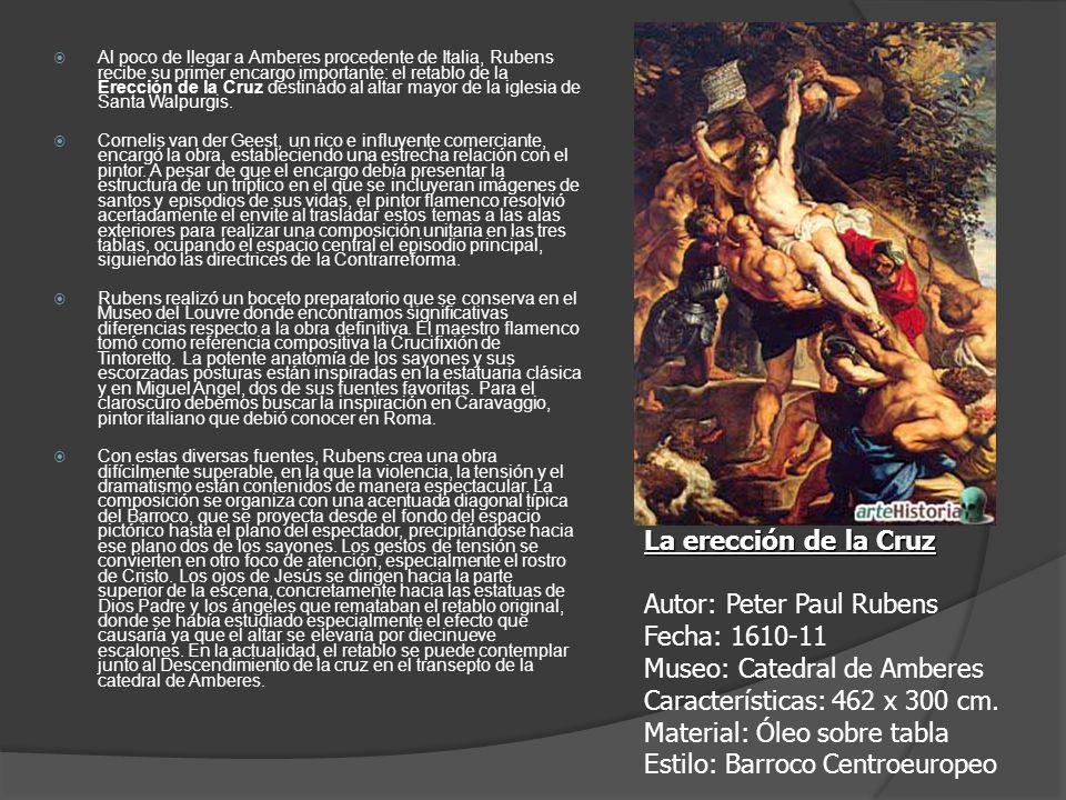 Al poco de llegar a Amberes procedente de Italia, Rubens recibe su primer encargo importante: el retablo de la Erección de la Cruz destinado al altar mayor de la iglesia de Santa Walpurgis.
