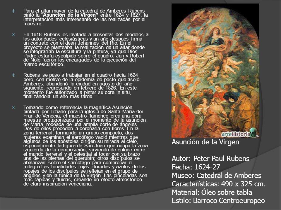 Para el altar mayor de la catedral de Amberes Rubens pintó la Asunción de la Virgen entre 1624 y 1627, la interpretación más interesante de las realizadas por el maestro.