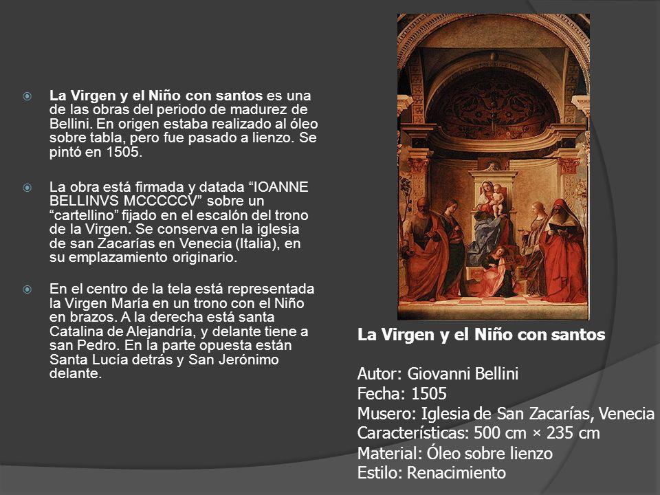 La Virgen y el Niño con santos Autor: Giovanni Bellini Fecha: 1505