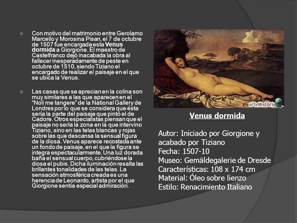 Con motivo del matrimonio entre Gerolamo Marcello y Morosina Pisan, el 7 de octubre de 1507 fue encargada esta Venus dormida a Giorgione. El maestro de Castelfranco dejó inacabada la obra al fallecer inesperadamente de peste en octubre de 1510, siendo Tiziano el encargado de realizar el paisaje en el que se ubica la Venus.