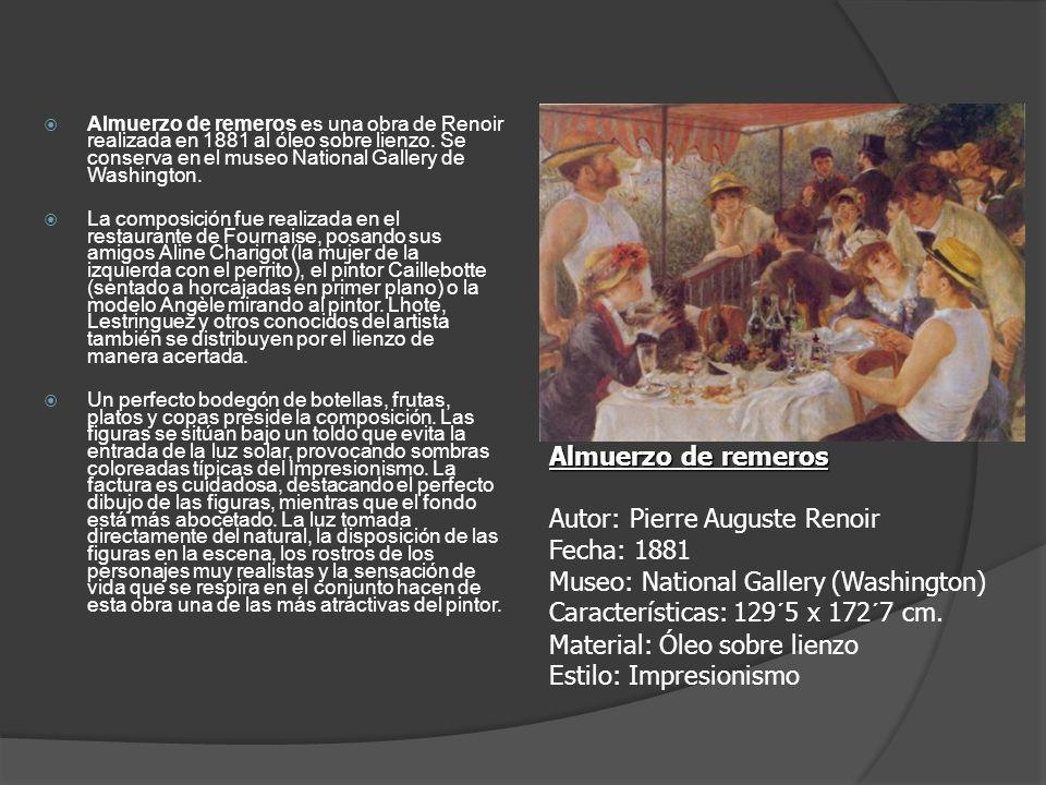 Almuerzo de remeros es una obra de Renoir realizada en 1881 al óleo sobre lienzo. Se conserva en el museo National Gallery de Washington.