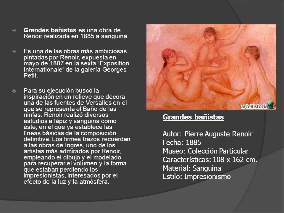 Grandes bañistas es una obra de Renoir realizada en 1885 a sanguina.