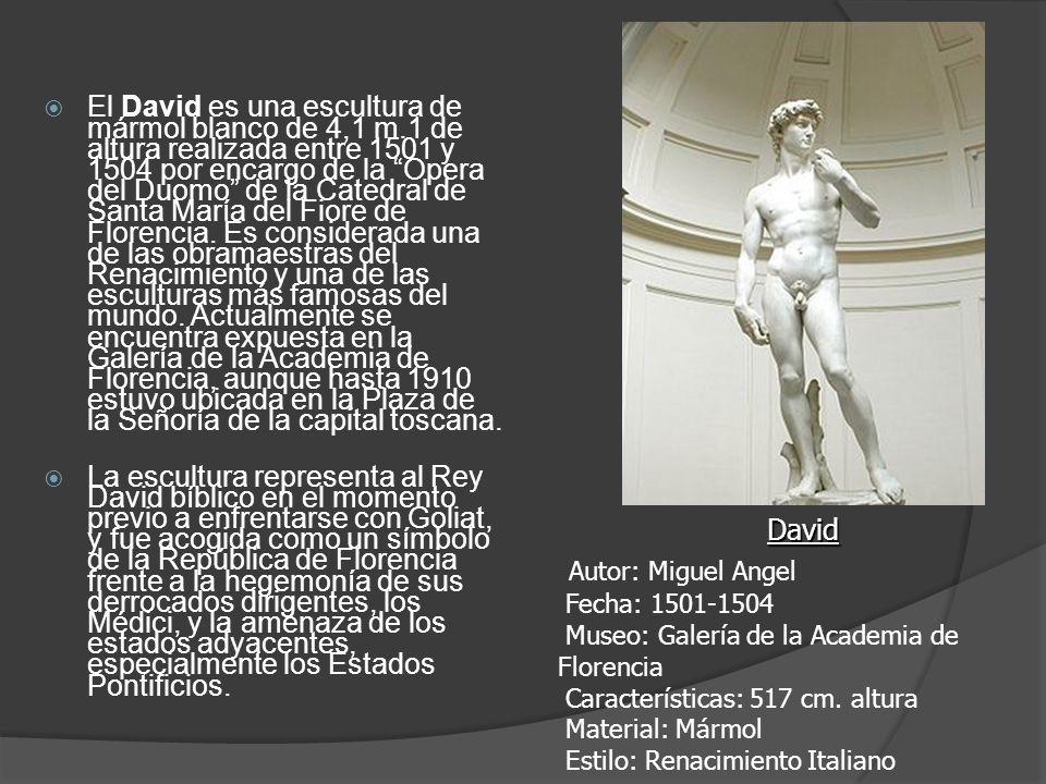 El David es una escultura de mármol blanco de 4,1 m