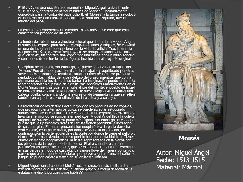 Moisés Autor: Miguel Ángel Fecha: 1513-1515 Material: Mármol