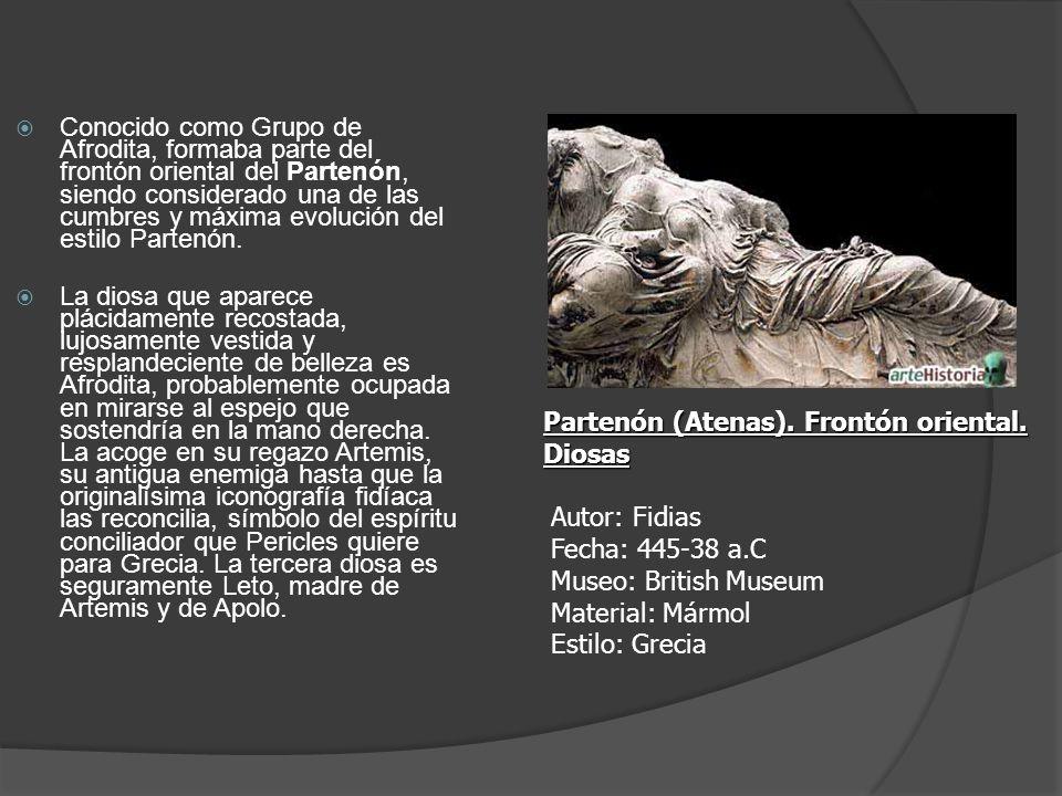 Conocido como Grupo de Afrodita, formaba parte del frontón oriental del Partenón, siendo considerado una de las cumbres y máxima evolución del estilo Partenón.