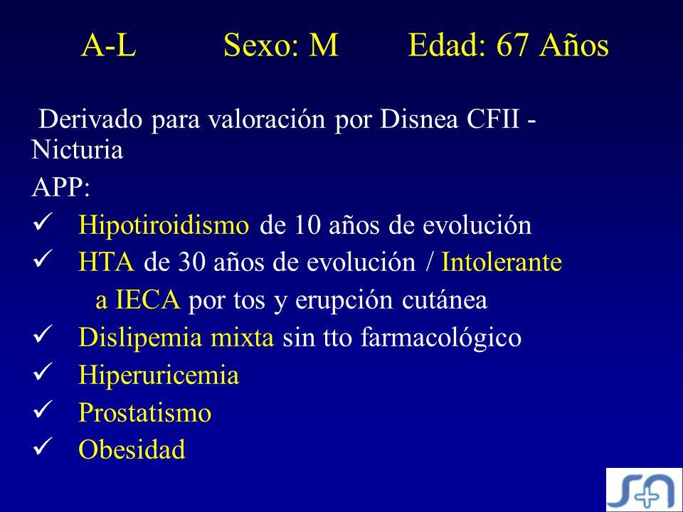 A-L Sexo: M Edad: 67 Años Derivado para valoración por Disnea CFII - Nicturia. APP: