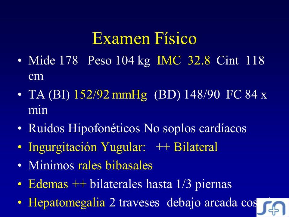 Examen Físico Mide 178 Peso 104 kg IMC 32.8 Cint 118 cm