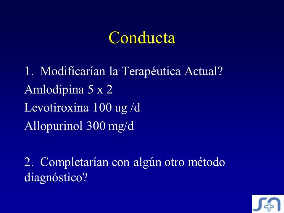 Conducta Modificarían la Terapéutica Actual Amlodipina 5 x 2
