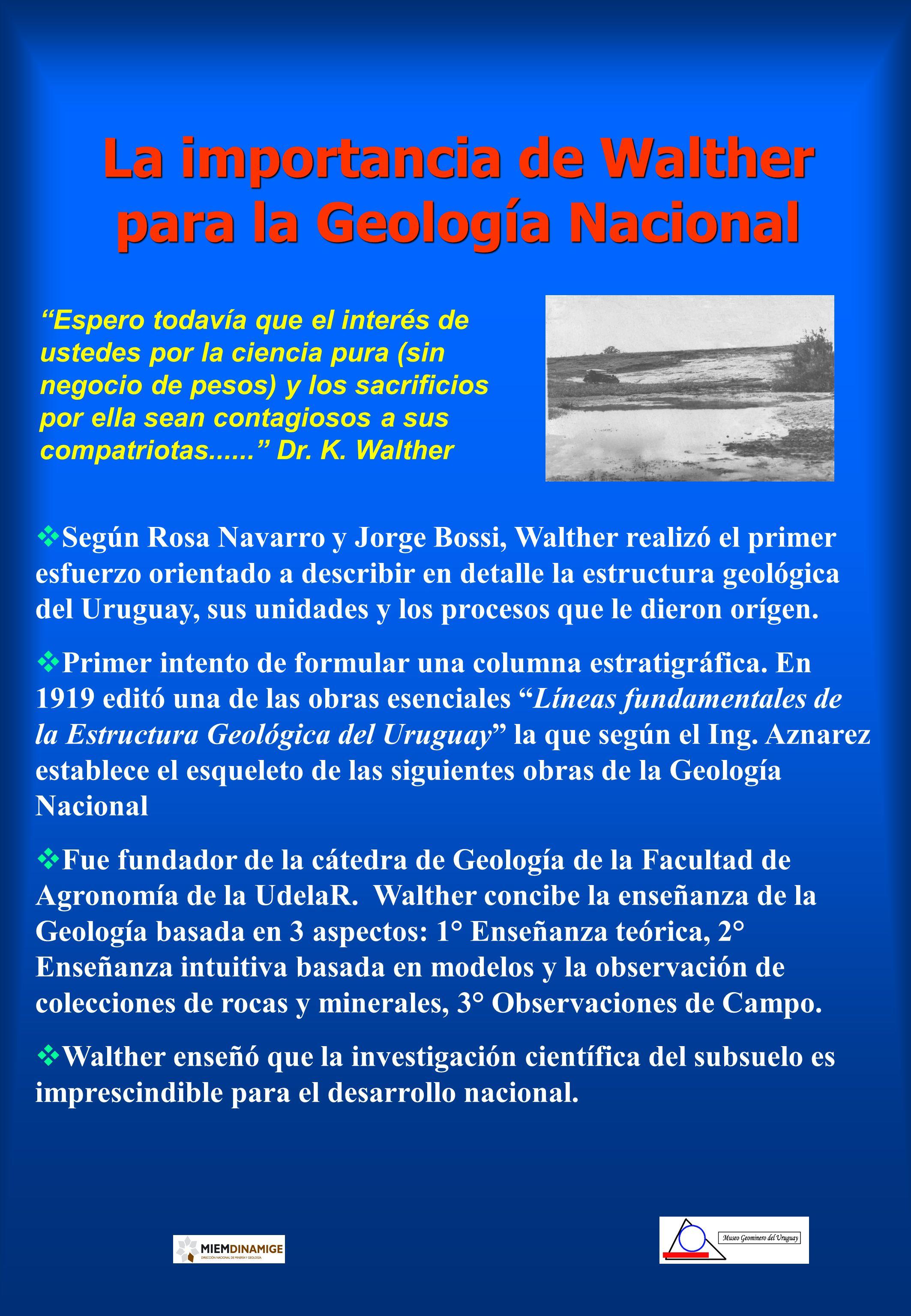 La importancia de Walther para la Geología Nacional