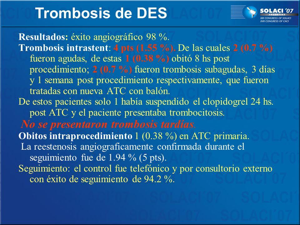 Trombosis de DES Resultados: éxito angiográfico 98 %.