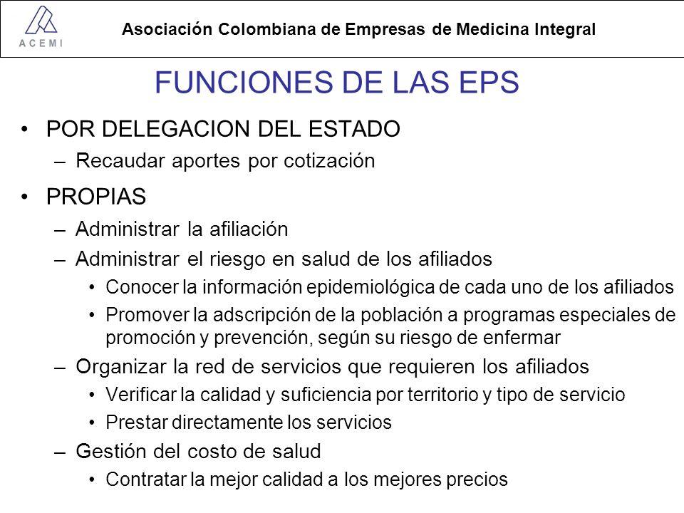 FUNCIONES DE LAS EPS POR DELEGACION DEL ESTADO PROPIAS