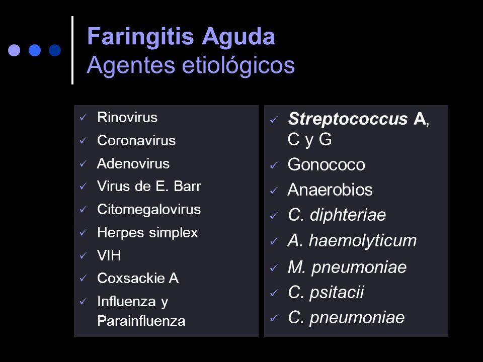 Faringitis Aguda Agentes etiológicos