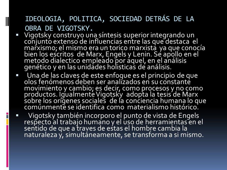 IDEOLOGIA, POLITICA, SOCIEDAD DETRÁS DE LA OBRA DE VIGOTSKY.