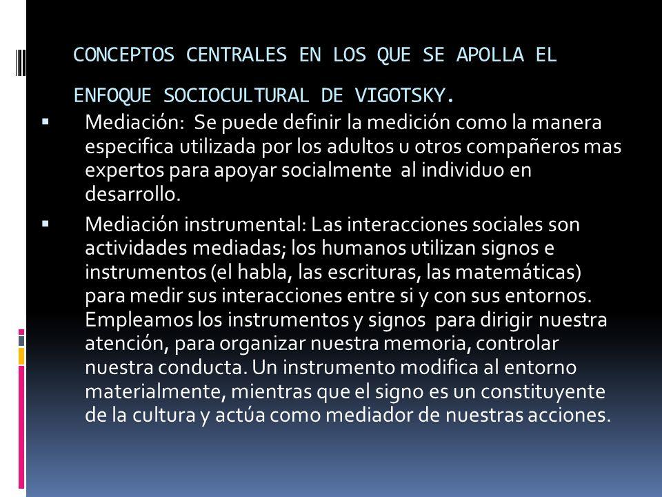 CONCEPTOS CENTRALES EN LOS QUE SE APOLLA EL ENFOQUE SOCIOCULTURAL DE VIGOTSKY.