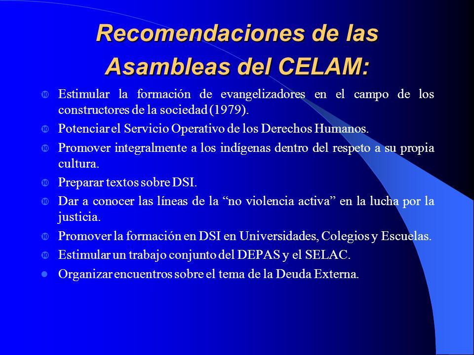 Recomendaciones de las Asambleas del CELAM: