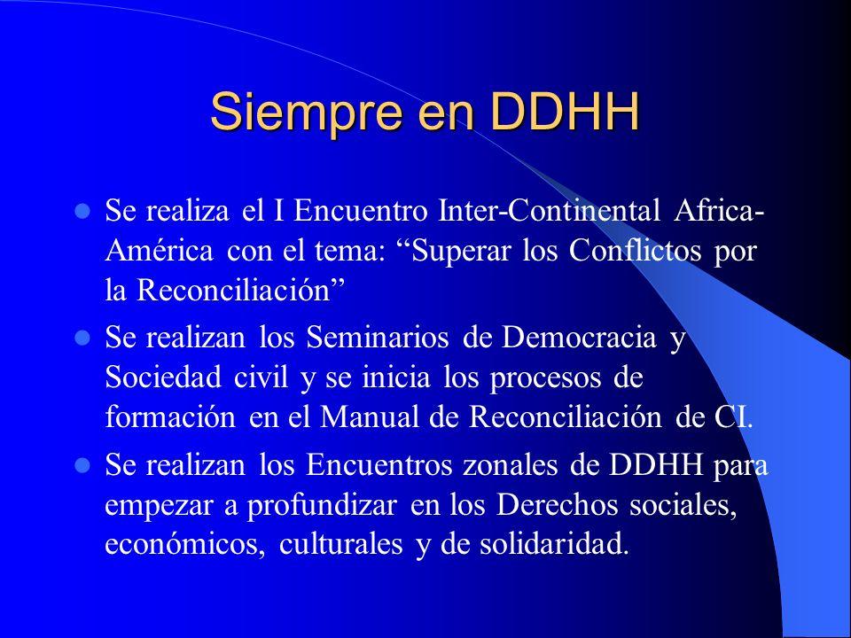 Siempre en DDHH Se realiza el I Encuentro Inter-Continental Africa-América con el tema: Superar los Conflictos por la Reconciliación