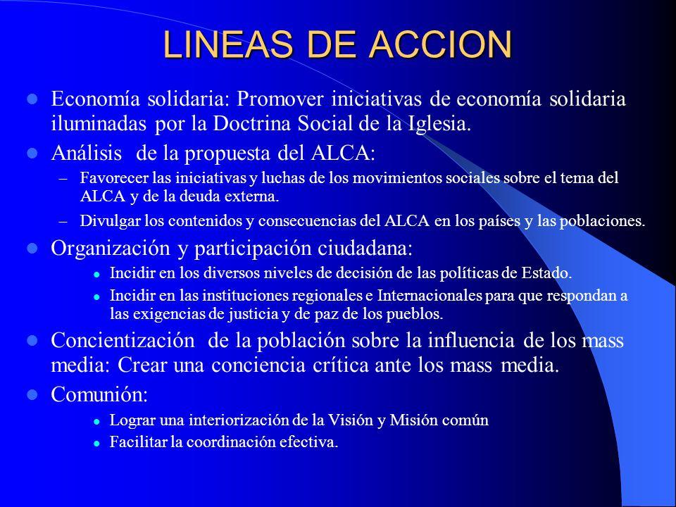 LINEAS DE ACCION Economía solidaria: Promover iniciativas de economía solidaria iluminadas por la Doctrina Social de la Iglesia.
