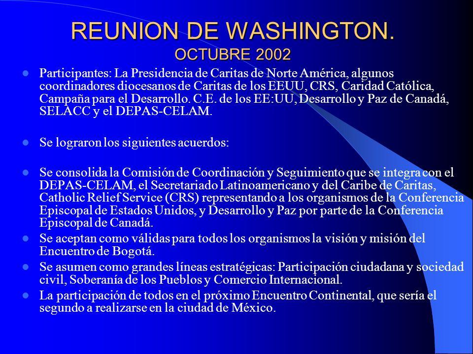 REUNION DE WASHINGTON. OCTUBRE 2002