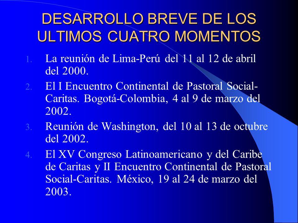 DESARROLLO BREVE DE LOS ULTIMOS CUATRO MOMENTOS