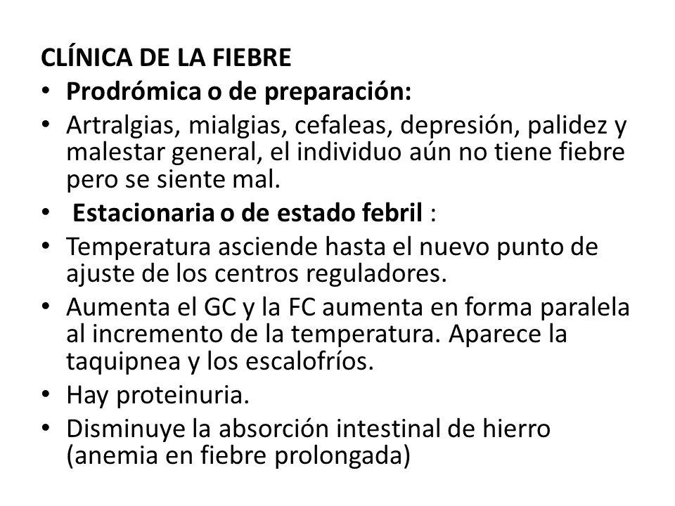 CLÍNICA DE LA FIEBRE Prodrómica o de preparación: