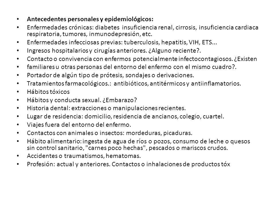 Antecedentes personales y epidemiológicos: