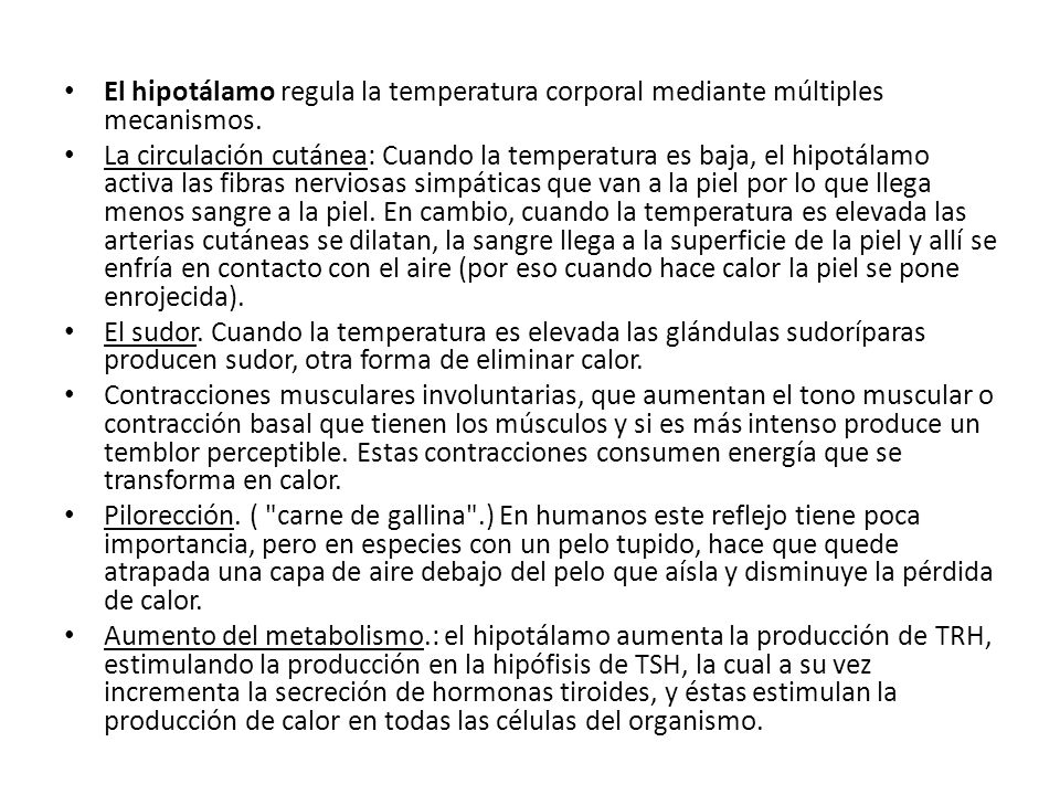 El hipotálamo regula la temperatura corporal mediante múltiples mecanismos.