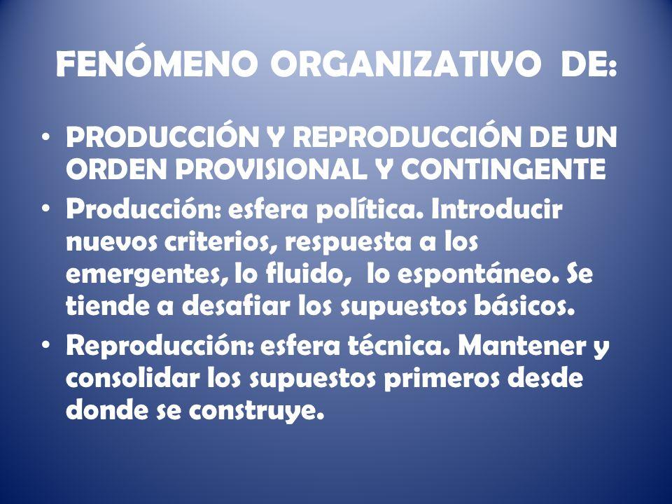 FENÓMENO ORGANIZATIVO DE: