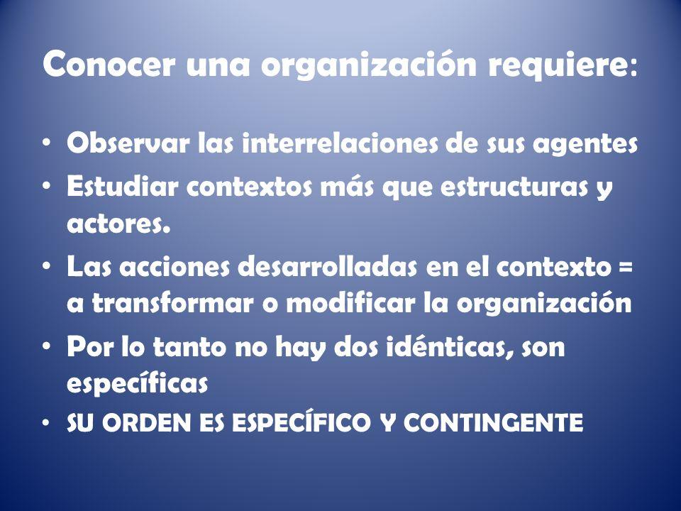 Conocer una organización requiere: