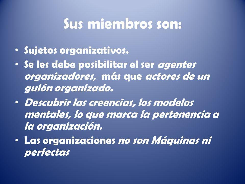 Sus miembros son: Sujetos organizativos.