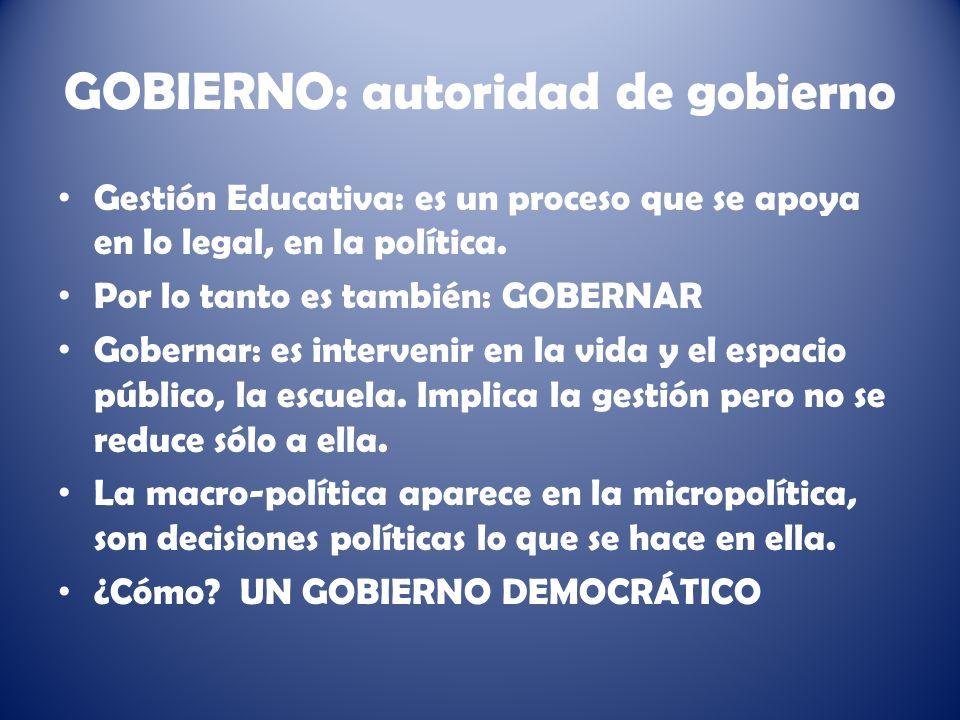 GOBIERNO: autoridad de gobierno