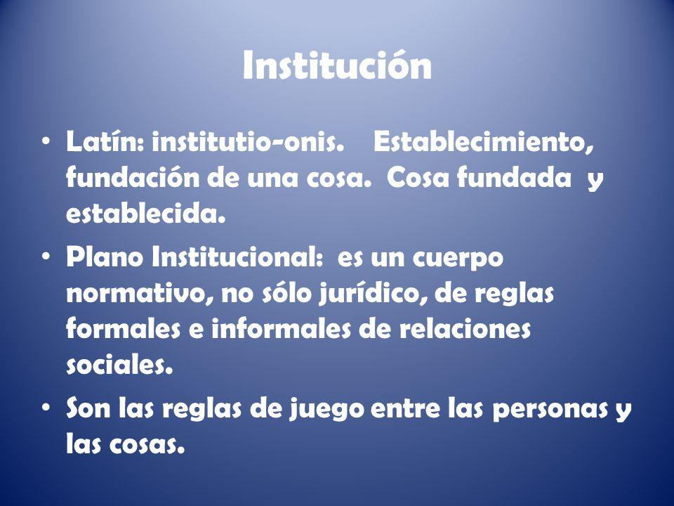 Institución Latín: institutio-onis. Establecimiento, fundación de una cosa. Cosa fundada y establecida.