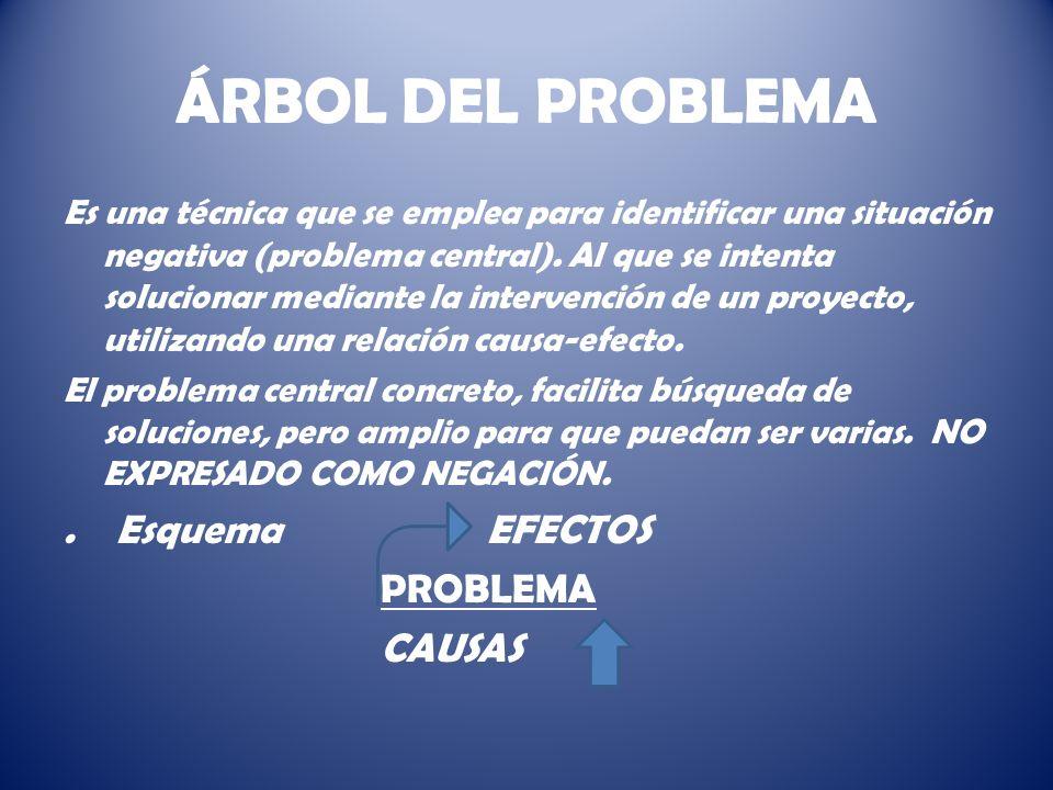 ÁRBOL DEL PROBLEMA . Esquema EFECTOS PROBLEMA CAUSAS