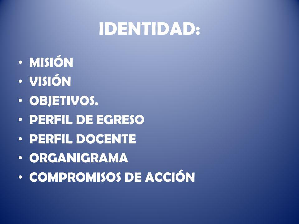 IDENTIDAD: MISIÓN VISIÓN OBJETIVOS. PERFIL DE EGRESO PERFIL DOCENTE