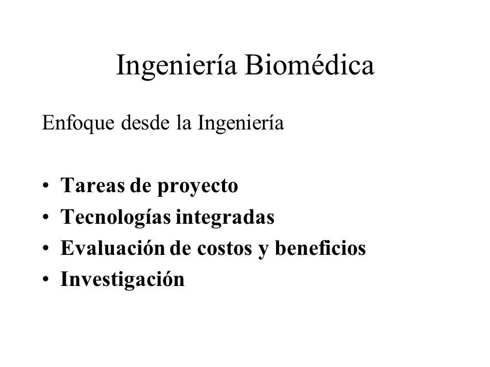 Ingeniería Biomédica Enfoque desde la Ingeniería Tareas de proyecto