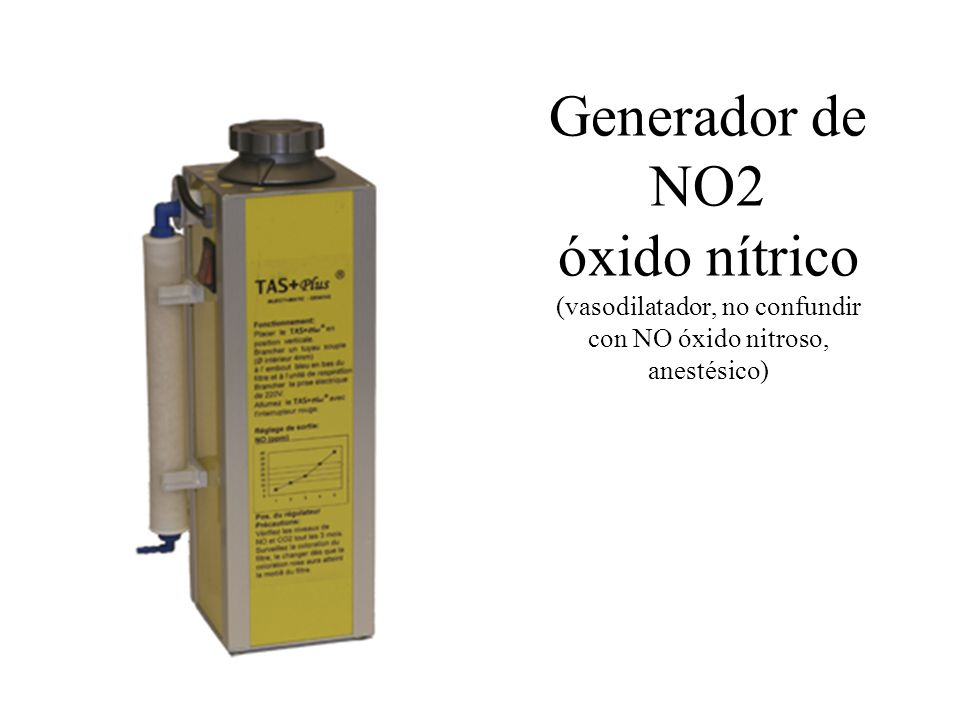 Generador de NO2 óxido nítrico (vasodilatador, no confundir con NO óxido nitroso, anestésico)