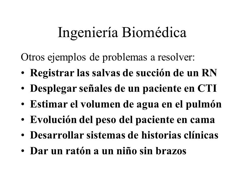Ingeniería Biomédica Otros ejemplos de problemas a resolver: