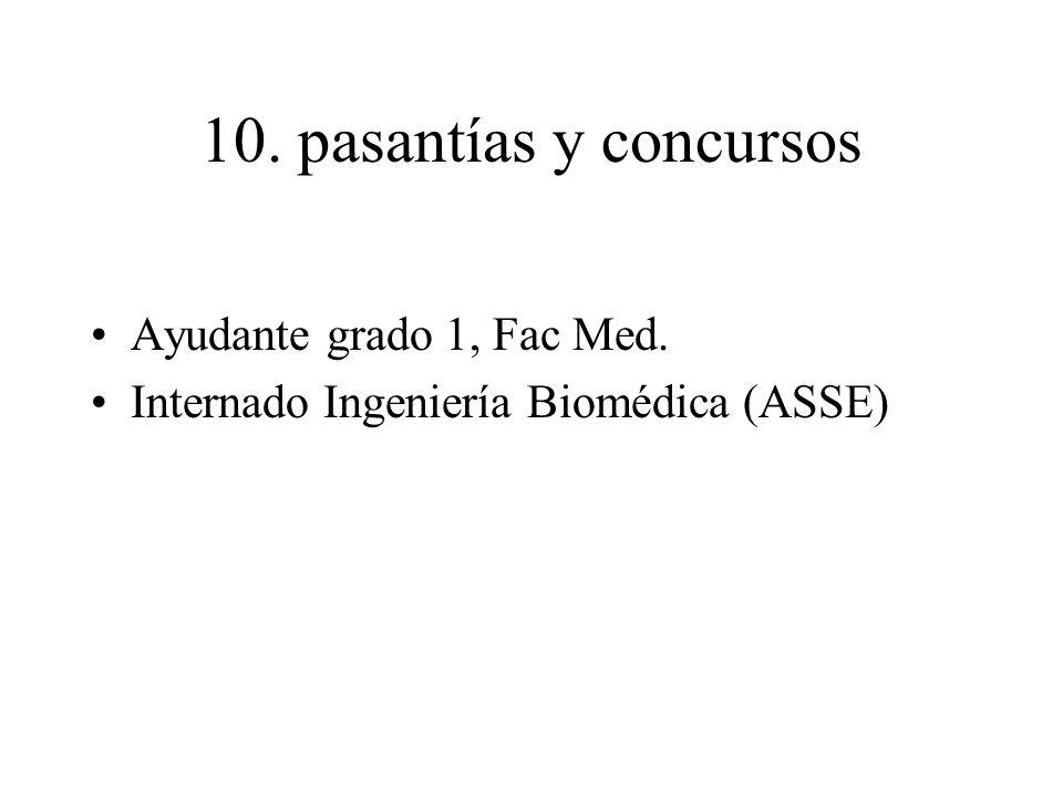 10. pasantías y concursos Ayudante grado 1, Fac Med.