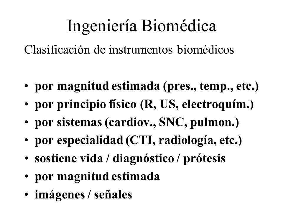 Ingeniería Biomédica Clasificación de instrumentos biomédicos