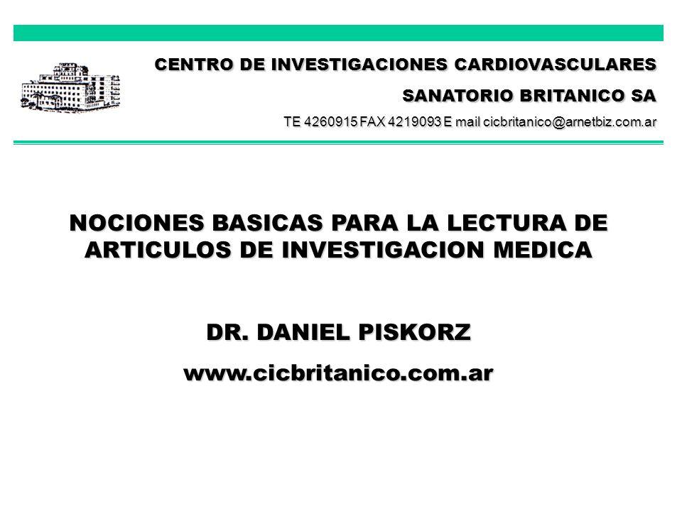 NOCIONES BASICAS PARA LA LECTURA DE ARTICULOS DE INVESTIGACION MEDICA