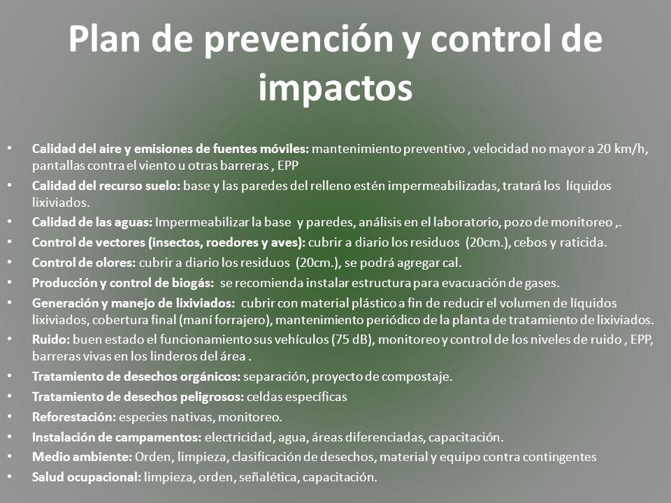 Plan de prevención y control de impactos