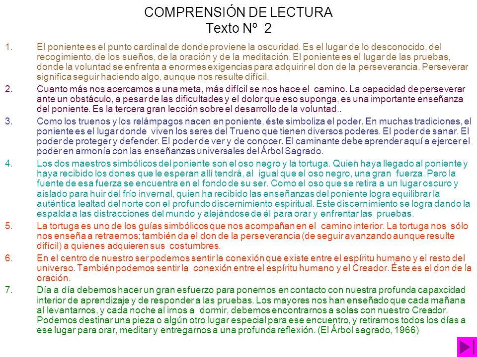 COMPRENSIÓN DE LECTURA Texto Nº 2