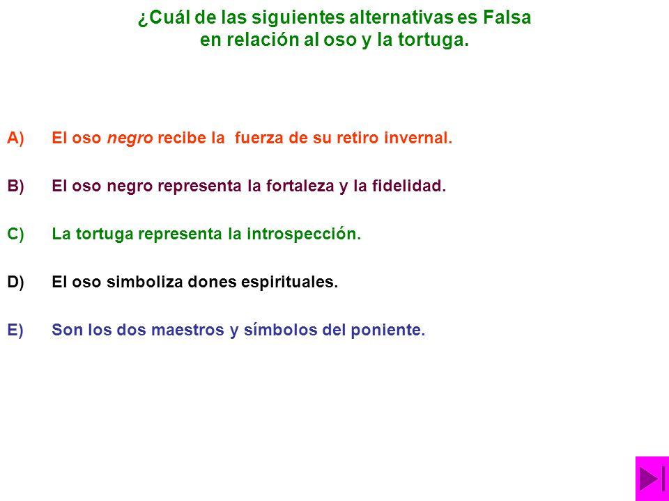 ¿Cuál de las siguientes alternativas es Falsa en relación al oso y la tortuga.