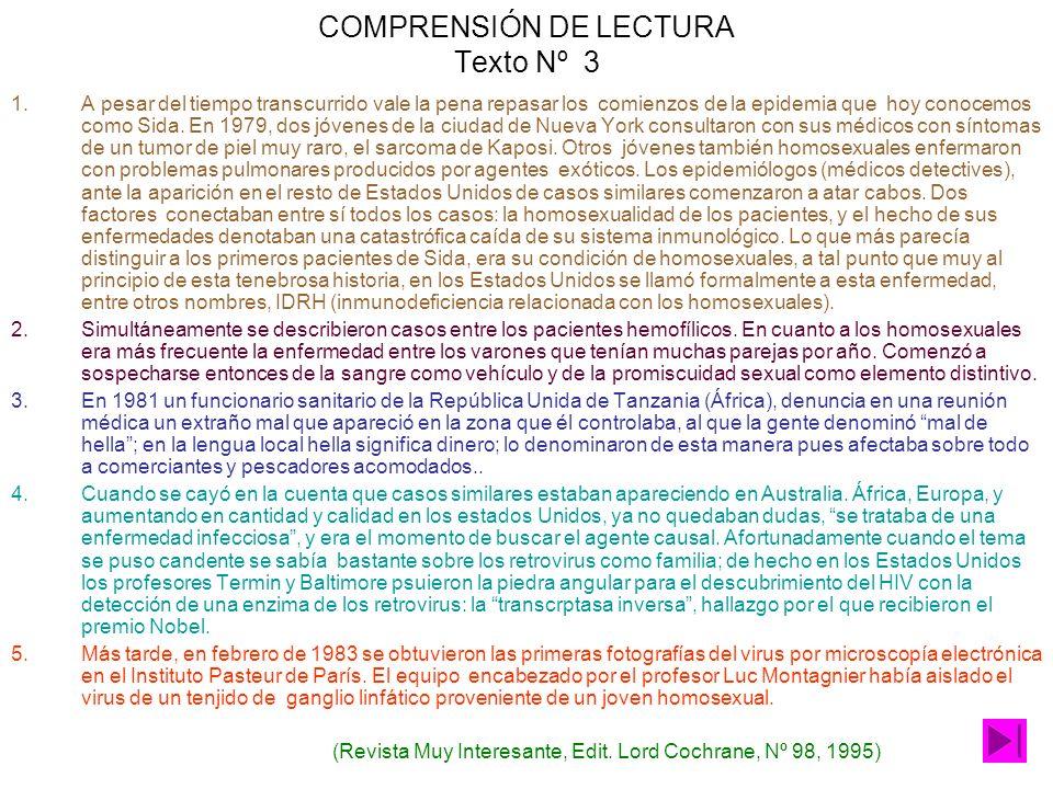 COMPRENSIÓN DE LECTURA Texto Nº 3