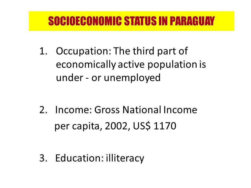 SOCIOECONOMIC STATUS IN PARAGUAY