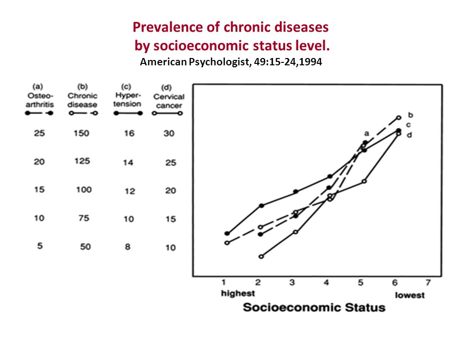 Prevalence of chronic diseases by socioeconomic status level