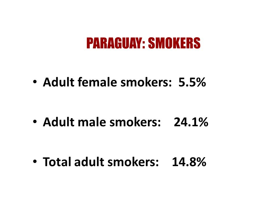 PARAGUAY: SMOKERS Adult female smokers: 5.5% Adult male smokers: 24.1% Total adult smokers: 14.8%
