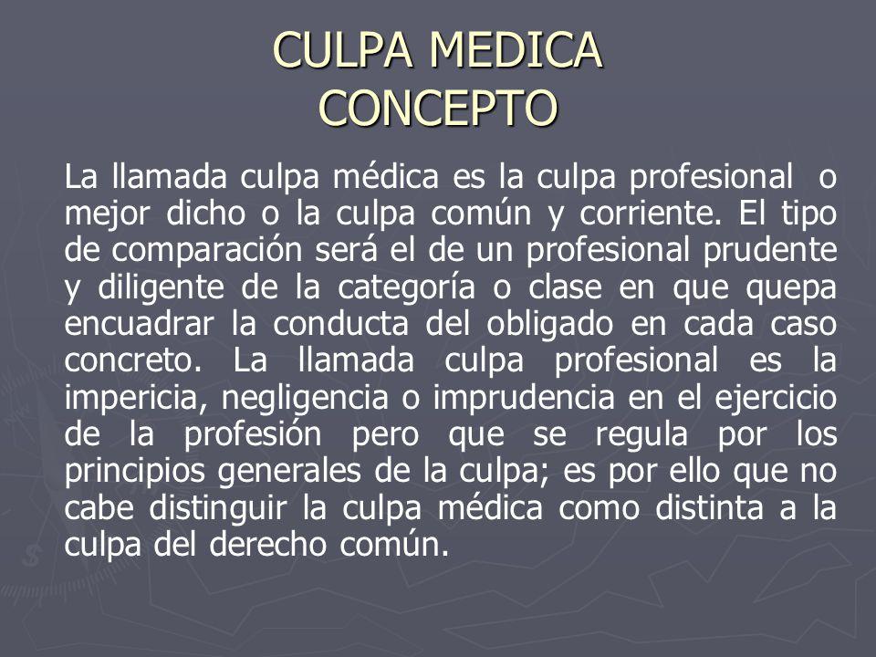 CULPA MEDICA CONCEPTO