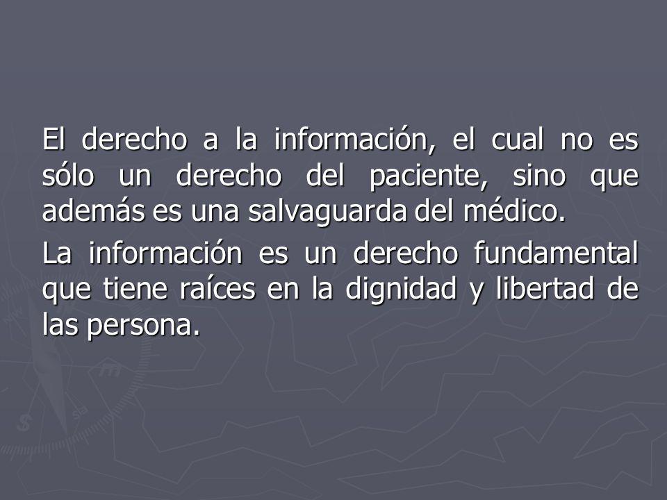 El derecho a la información, el cual no es sólo un derecho del paciente, sino que además es una salvaguarda del médico.
